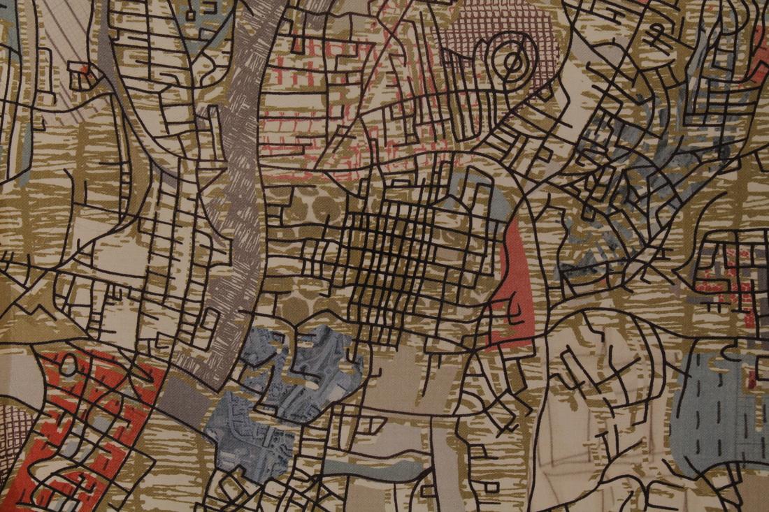 Chloe Hughes 'Glasgow Map Collage' digitally printed on Wool Twill