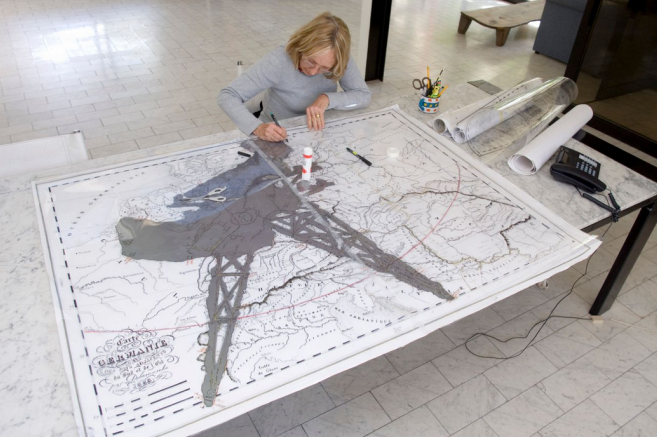 Marguerite Stephens creating the cartoon for a William Kentridge tapestry