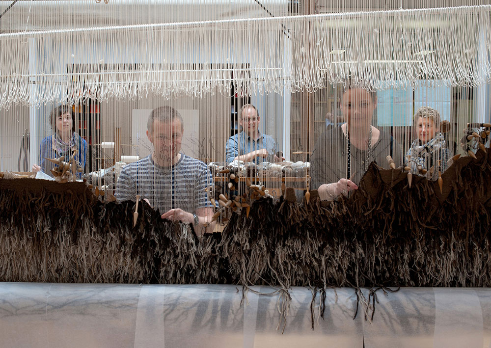 Fleece to Fibre at The Fleming Collection, weavers Freya Sewell, David Cochrane, Jonathan Cleaver, Naomi Robertson, Emily Fogarty and Alicia Bruce at Dovecot Studios