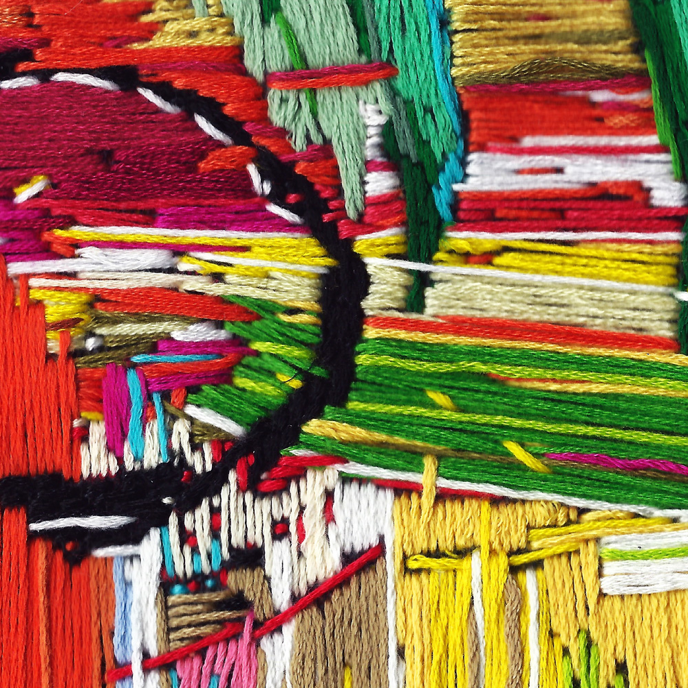 Allistair Covell, stitch painting (detail)