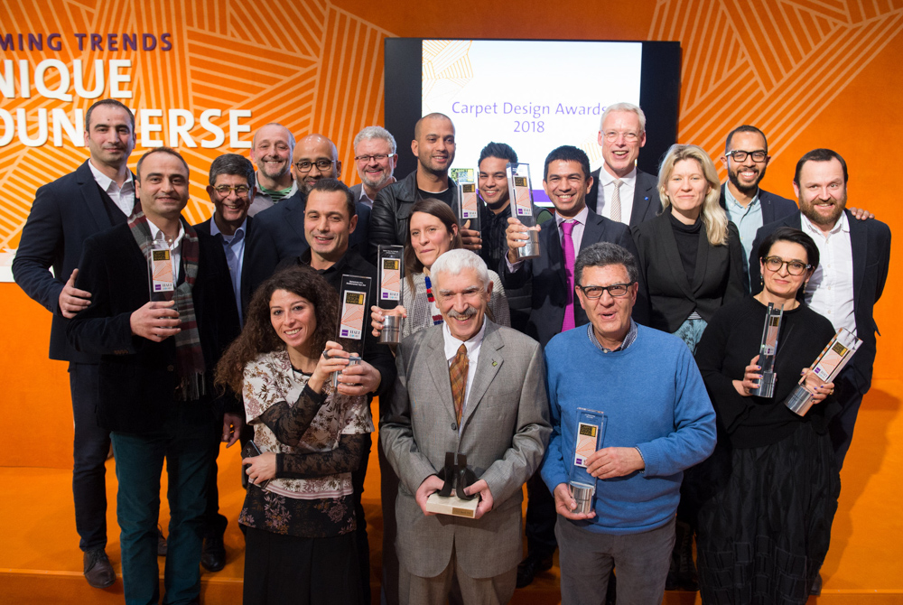 DOMOTEX 2018 - Weltleitmesse f¸r Teppiche und Bodenbel‰ge (12. - 15. Januar) Gruppenfoto anl‰fllich der Verleihung der Carpet Design Awards 2018 am 13. Januar in Hannover.