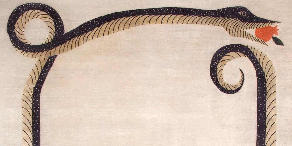 Snake and Pomegranate Rug (detail) by Studio Shamshiri for Christopher Farr, 2.74 x 3.66 m (9' x 12')