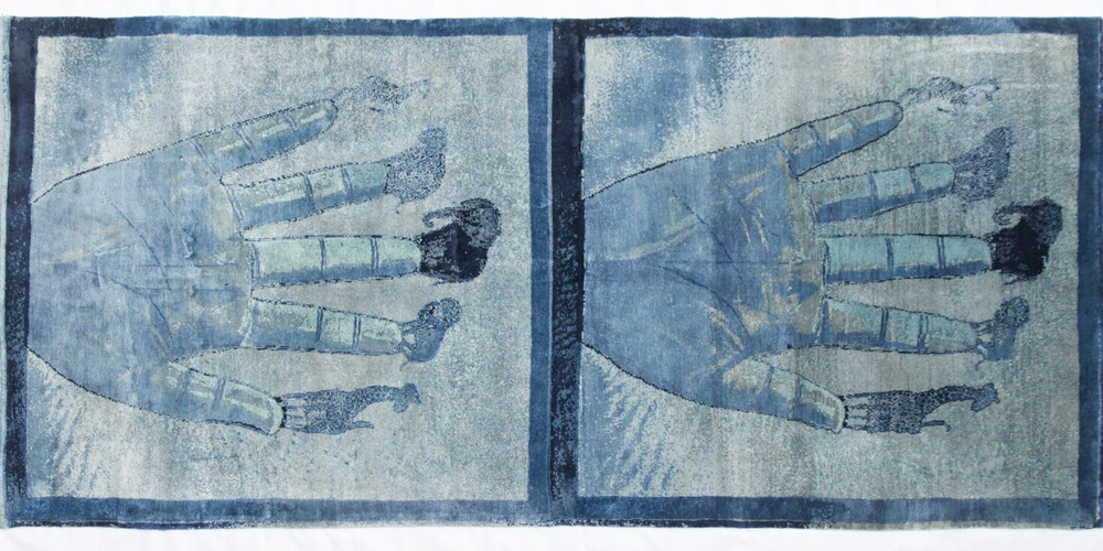 Rug designed by Francesco Clemente, hand-knotted in hand-spun wool and silk by Christopher Farr for Tomorrow's Tigers