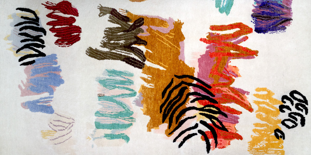 Detail of rug designed by Bernard Frize, hand-knotted in hand-spun wool and silk by Christopher Farr for Tomorrow's Tigers