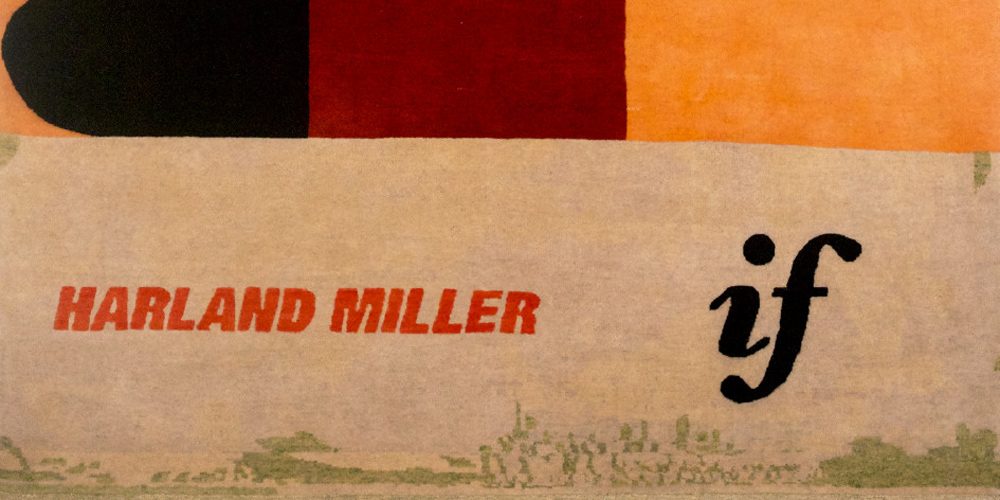 Detail of rug designed by Harland Miller, hand-knotted in hand-spun wool and silk by Christopher Farr for Tomorrow's Tigers