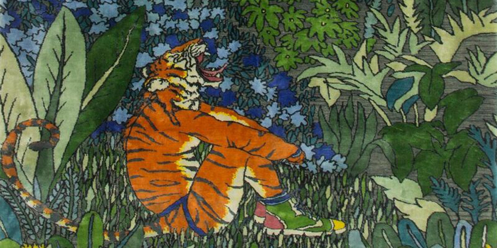 Detail of rug designed by Raqib Shaw, hand-knotted in hand-spun wool and silk by Christopher Farr for Tomorrow's Tigers