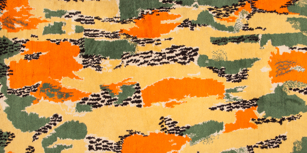The signed and titled Leopar (Leopard) rug (detail) by Zeki Müren