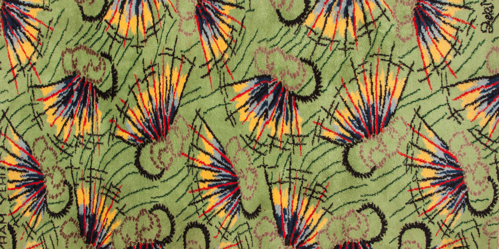 The signed and titled Bayram Yeri (Fairground) rug (detail) by Zeki Müren