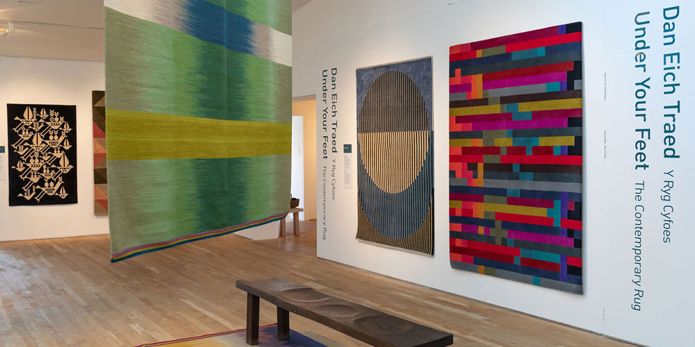 Installation shot of 'Under Your Feet' contemporary rugs on show at Sotheby's, London, 29 January–4 February 2019.