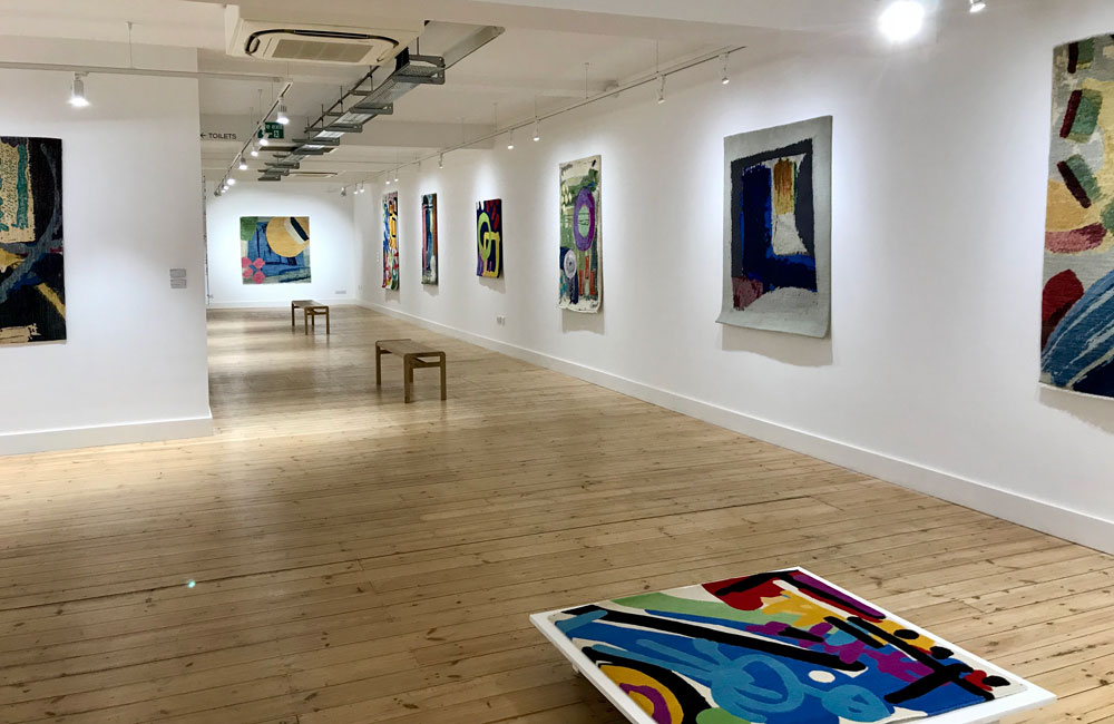 Installation view of 'Canvas to Carpet', Allistair Covell, The Broadway Gallery, Letchworth Garden City, UK