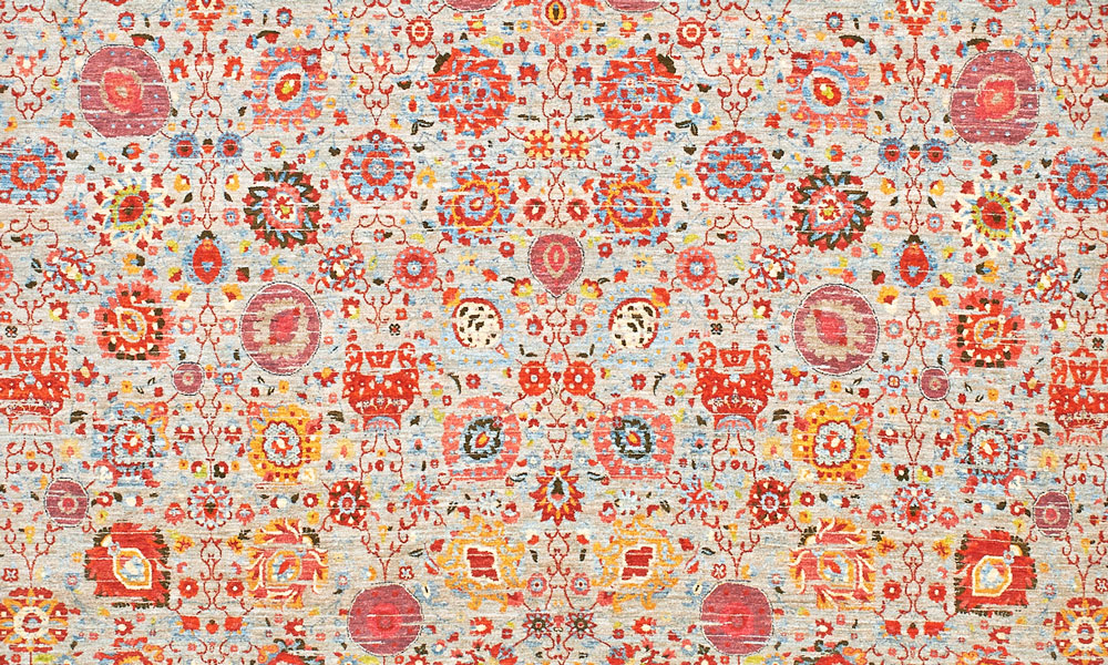 Floral rug (detail) by Lila Valadan