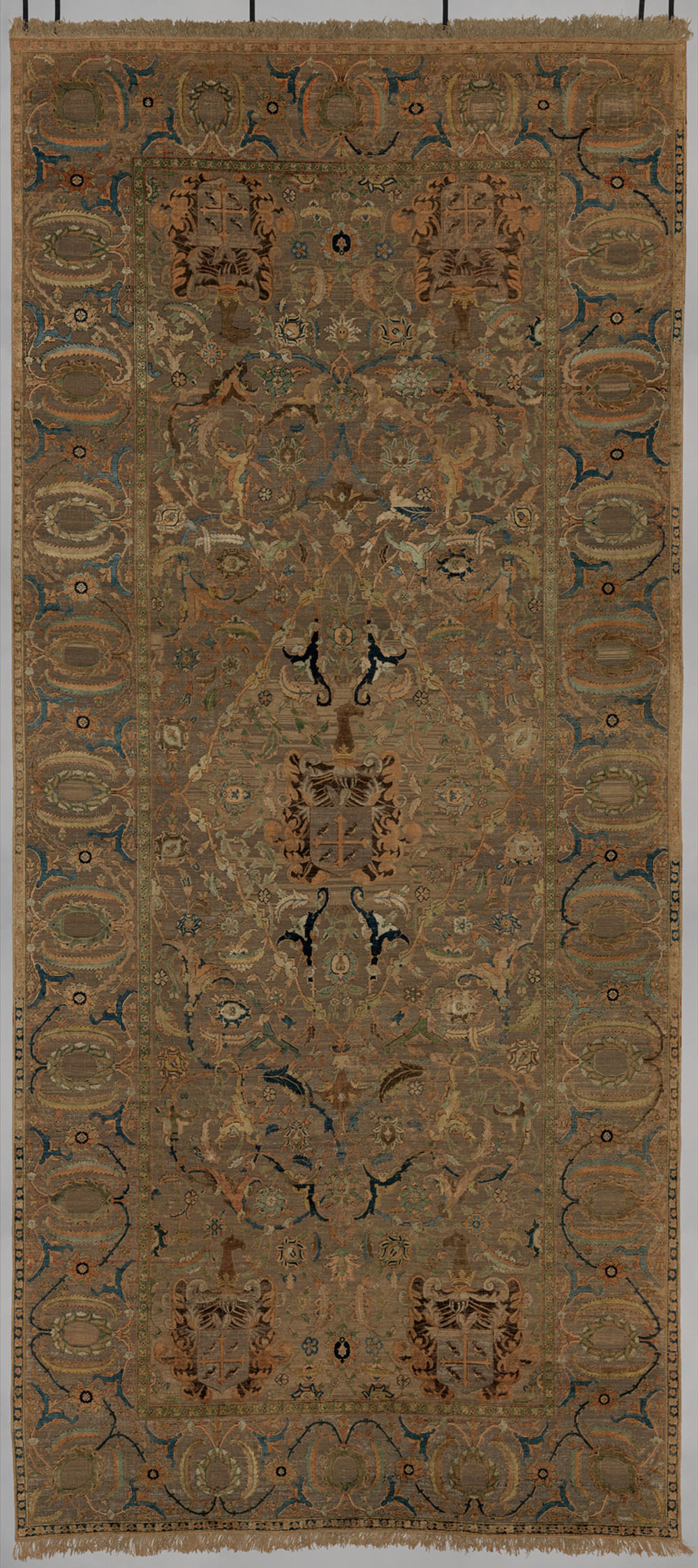 "The Czartoryski Polonaise Carpet, central Persia, 17th century. Silk pile brocaded with metal-wrapped thread; 2.17 x 4.86 m (7' 2"" x 15' 2""). Metropolitan Museum of Art, Gift of John D. Rockefeller Jr., and Harris Brisbane Dick Fund, by exchange, 1945, 45.106"