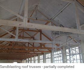 Sandblasting Steel beams