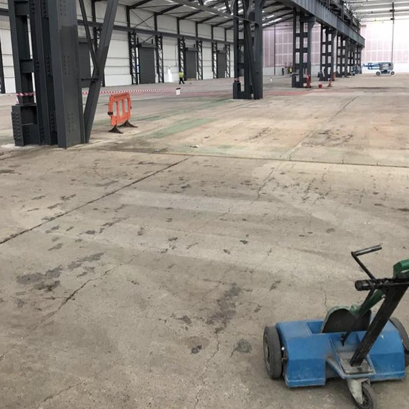 shot blasting of large warehouse floor