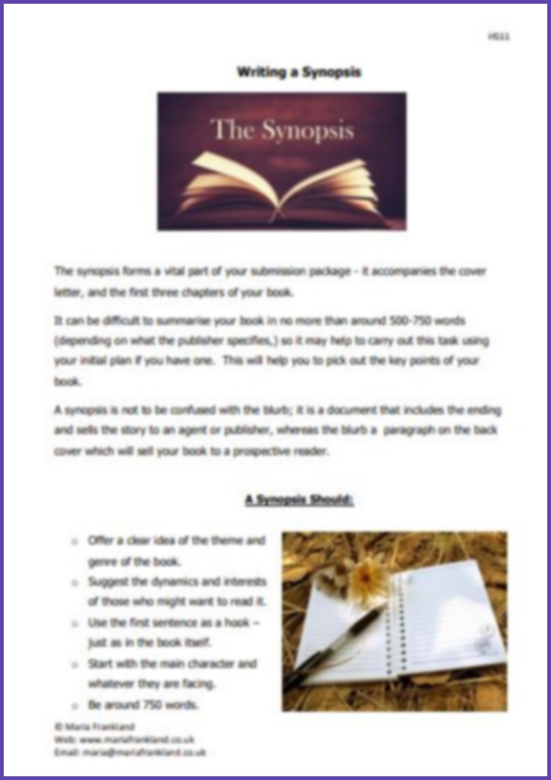 99p (3 sheets) Writing a Synopsis