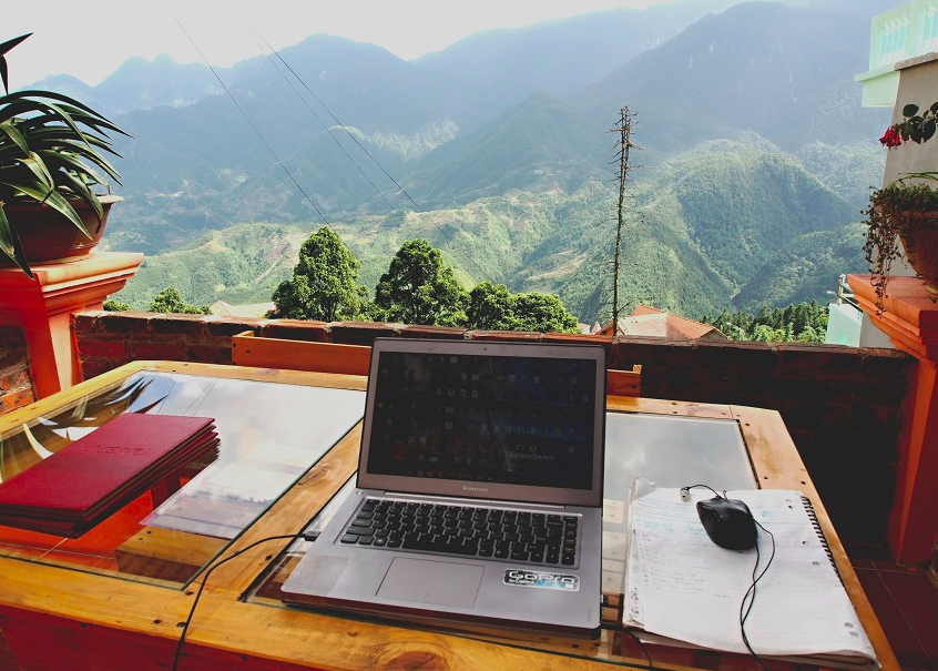 flexible working with view of the mountains
