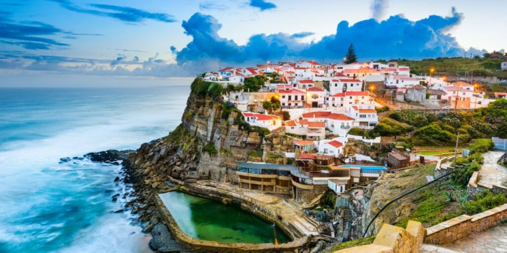 a view of a Portuguese village by the ocean