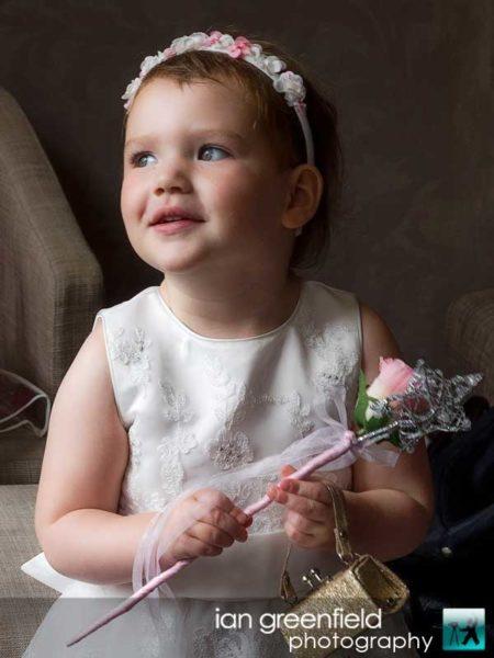 flower girl, Wedding Photographs taken at Aldwark Manor, Yorkshire professional wedding photographer,