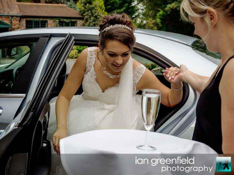 bride arriving, wedding photography, aldwark manor photographer, york, ian greenfield photography