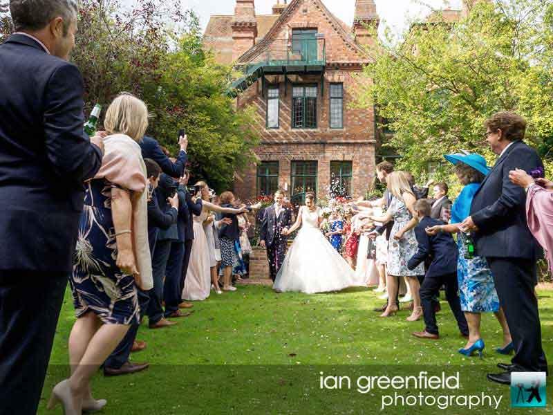 throwing confetti wedding photography, aldwark manor photographer, york, ian greenfield photography