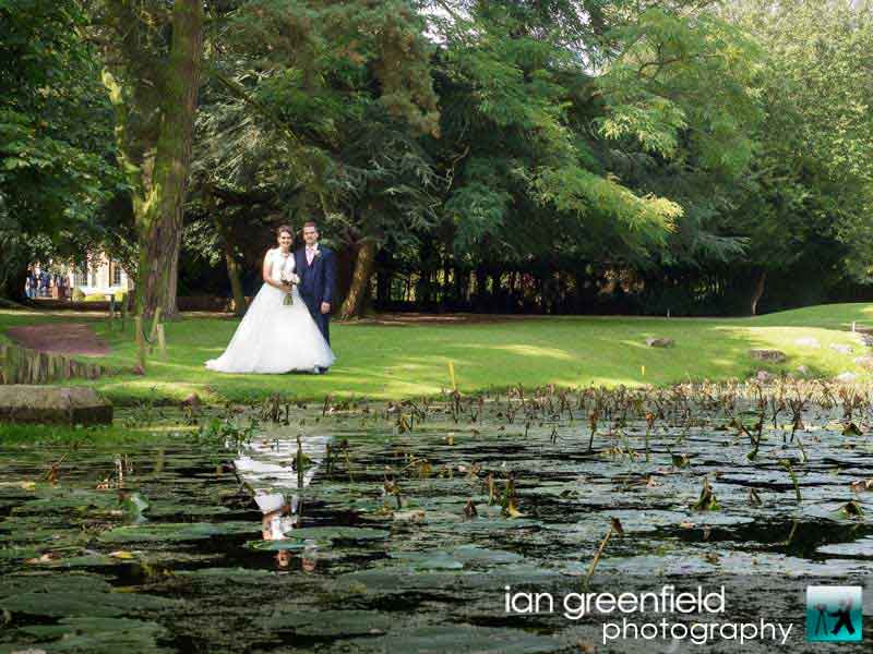 water reflection, wedding photographer for Aldwark Manor, ian greenfield photography