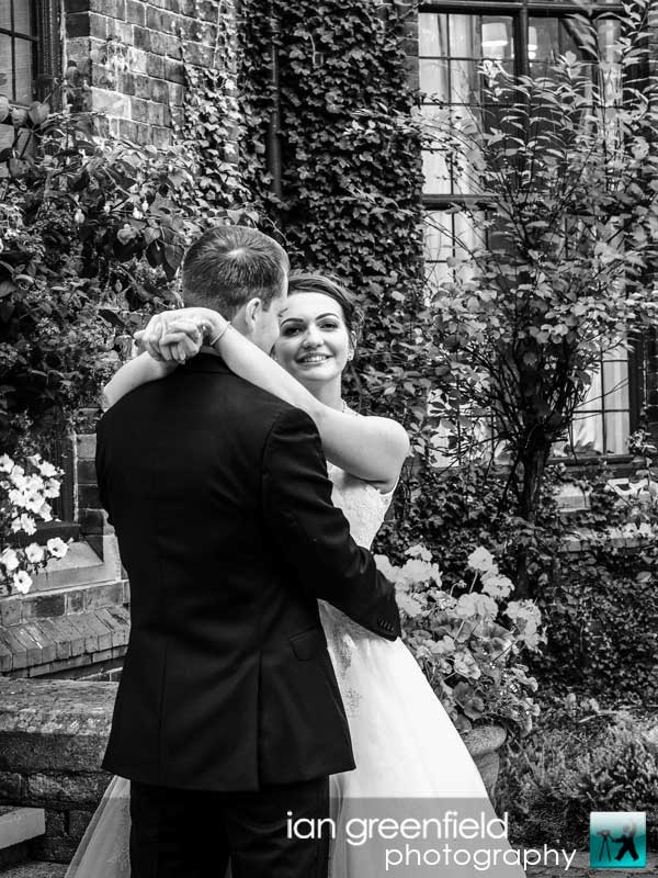 black and white wedding picture, North Yorkshire wedding photography at Aldwark Manor, Bride and groom wedding photographer, aldwark manor photographer, york, ian greenfield photography