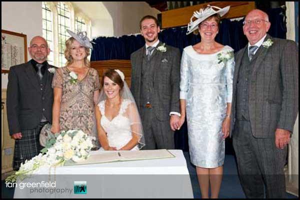wedding party hirst priory wedding
