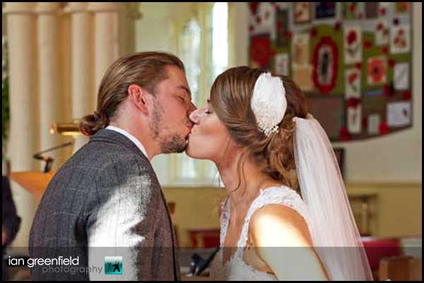 first married kiss hirst priory wedding