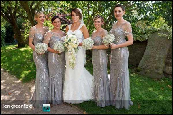 bride with bridesmaids hirst priory wedding