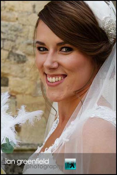 bride at church hirst priory wedding