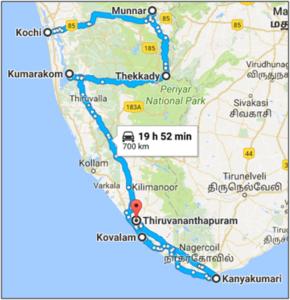 Kolorful Kerela - Route map