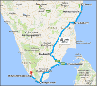 Serene Tamil Nadu - Route map