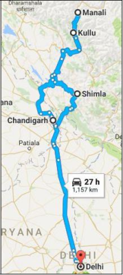 Shimla - Manali Route map