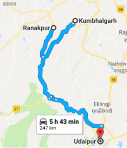 Udaipur Route map