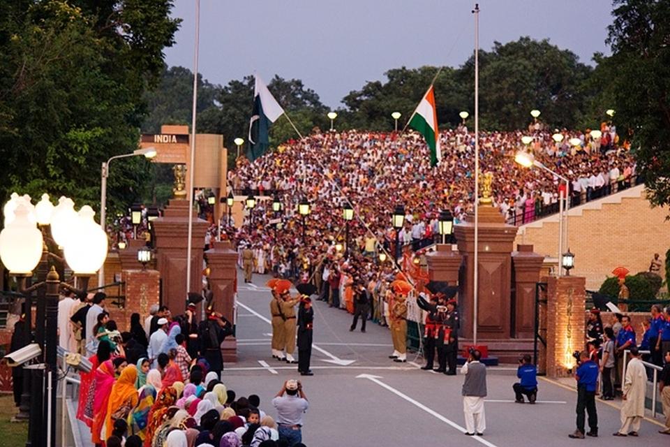 International border at Wagah - flag lowering ceremony
