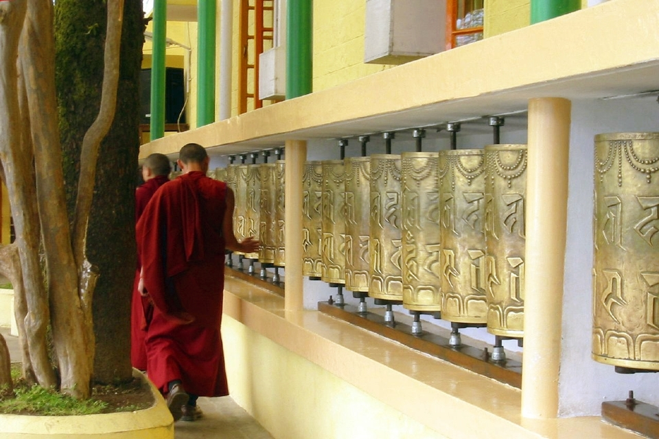 Prayer wheels at Tsuglagkhang temple, McLeod Ganj