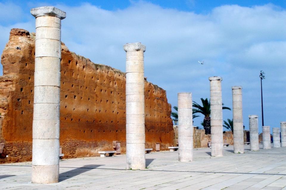 Remnants of wall at Hassan Tower Rabat