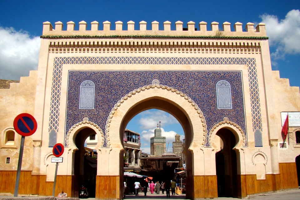 The Bab Bou Jeloud gate leading into the old medina of Fez