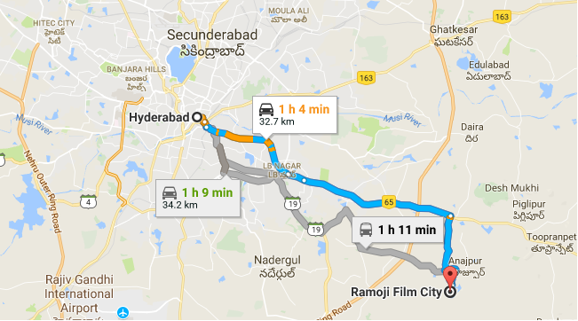 Hyderabad Route map