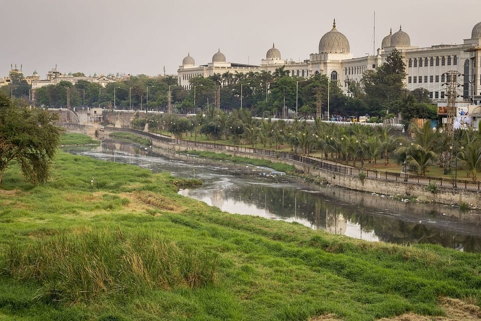 Salar Jung Museum and Musi river
