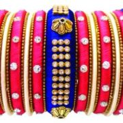 FANCY.SILK.THREAD.BANGLES.BLUE.AND.RED.SET.OF.25.BANGLES