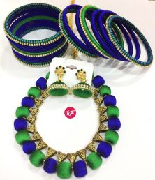 SILK THREAD BLUE AND GREEN COLOR NECKLACE SET