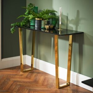 black high gloss console table
