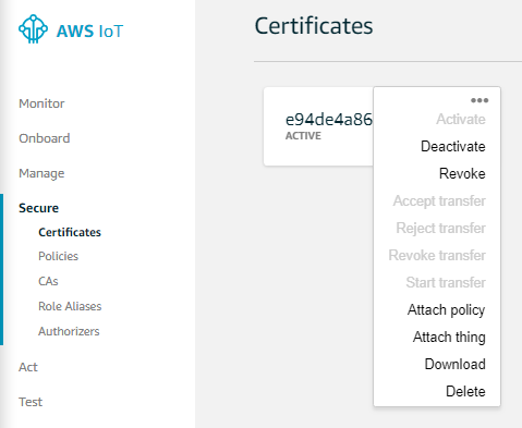Attach IoT Policy to Thing Certificate