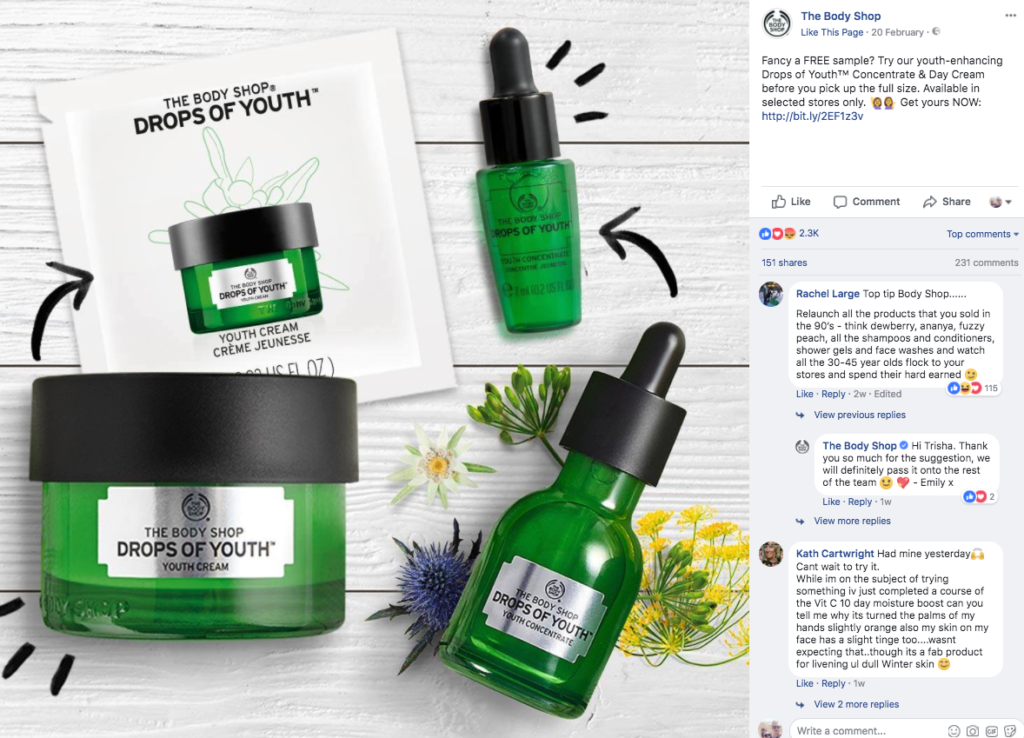 Free stuff on social media - free Body Shop Facebook giveaway