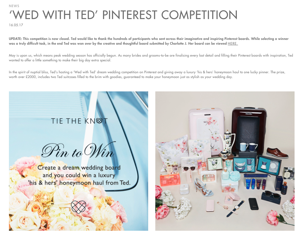 Free stuff on social media-  Pinterest Ted Baker competition