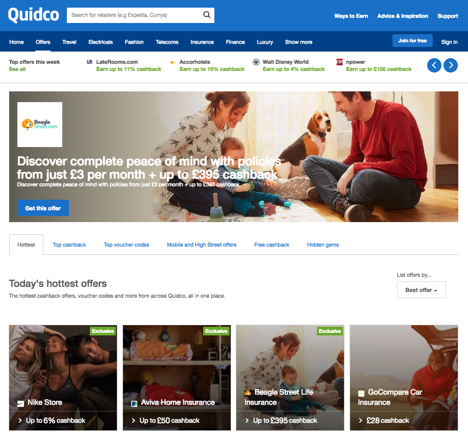 Quidco cashback website