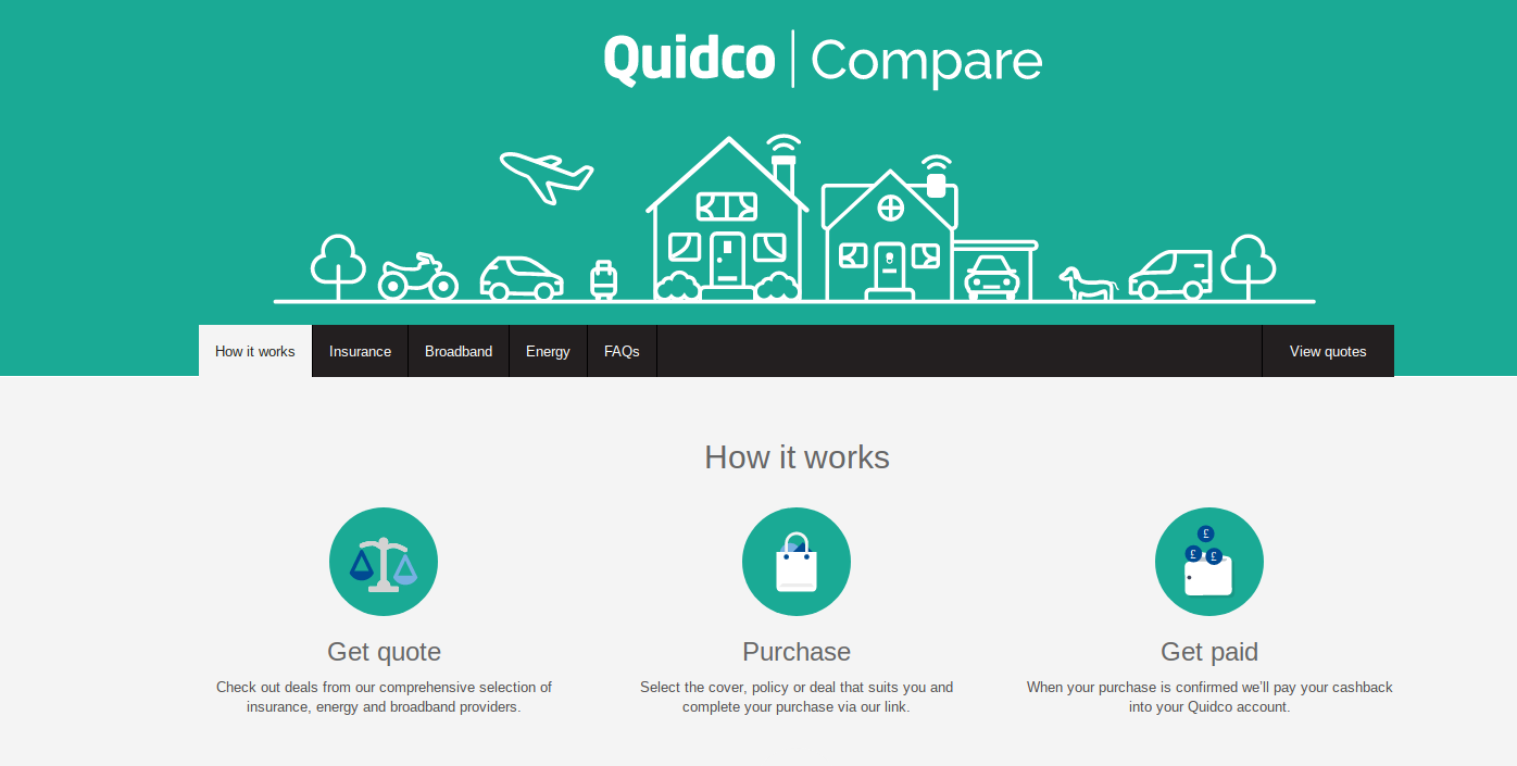 Cashback when you switch or compare insurance and utilities quidco