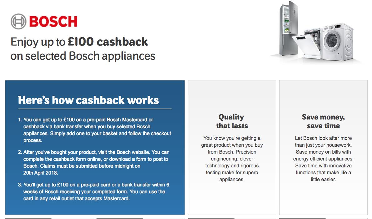 cashback on appliances