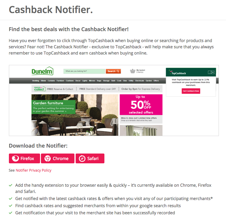 cashback notifier